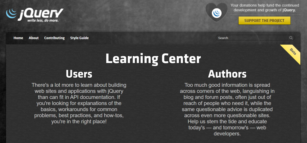 jQuery learning center is a great learning source for a developer.