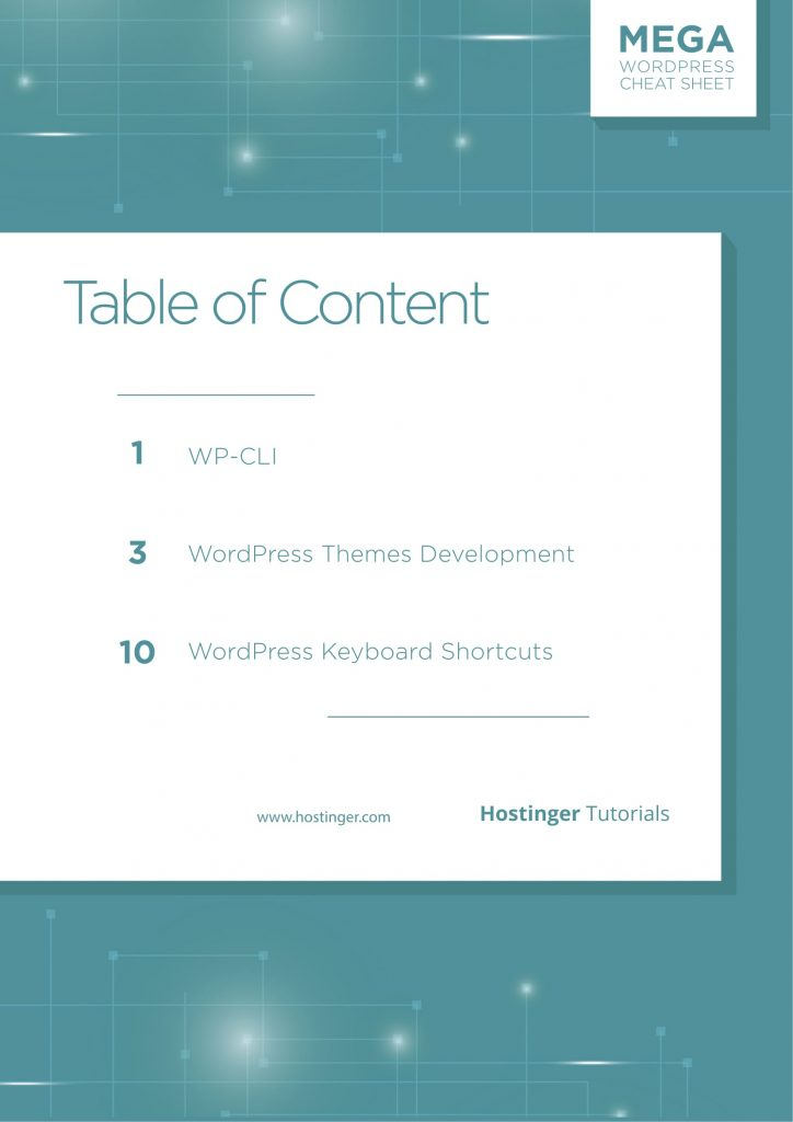 WordPress Cheat Sheet Table des Contens