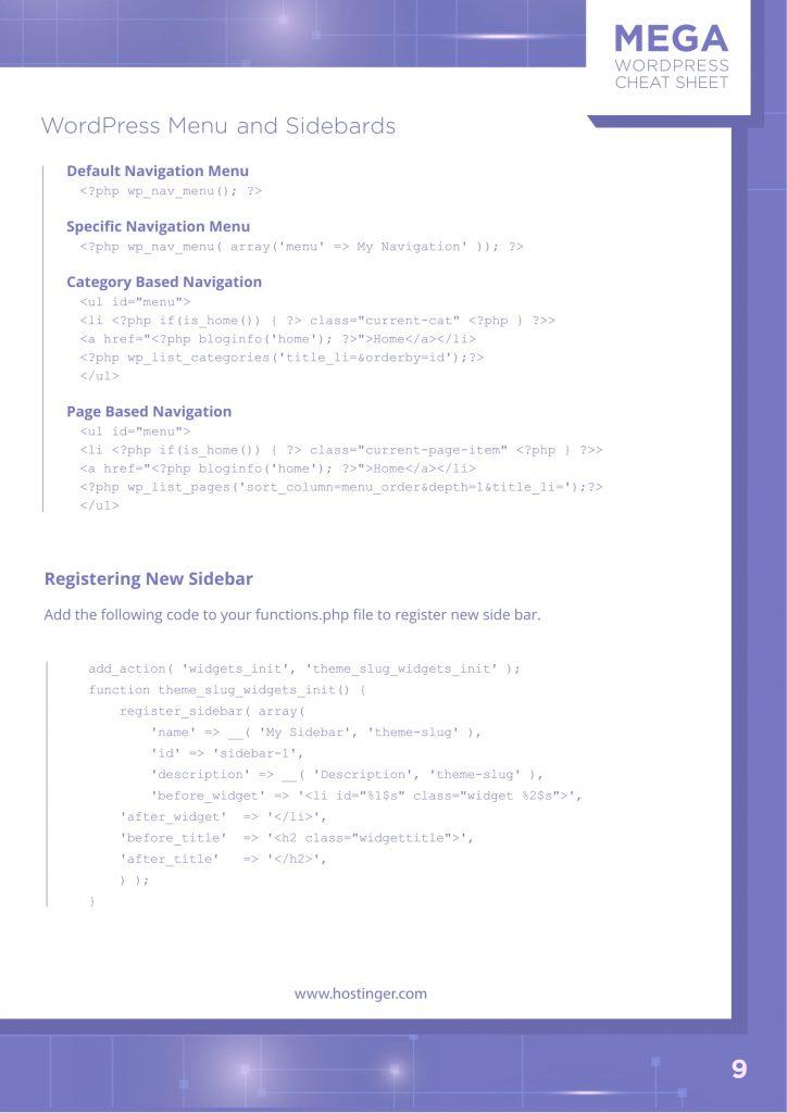WordPress Menu and Sidebars