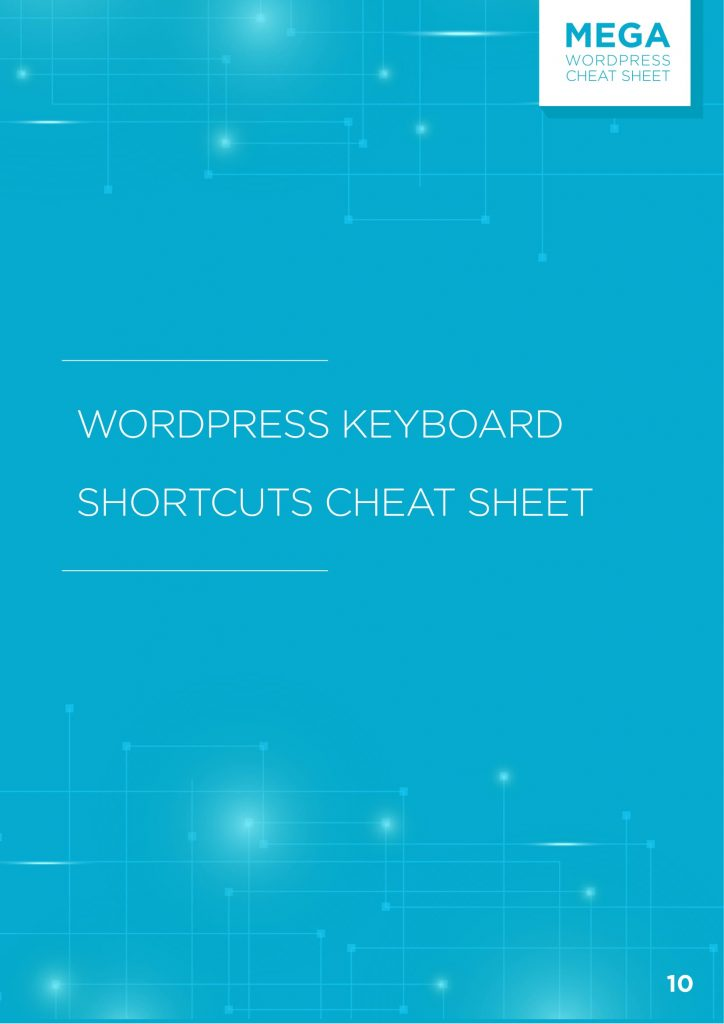 Raccourcis clavier WordPress Cheat Sheet