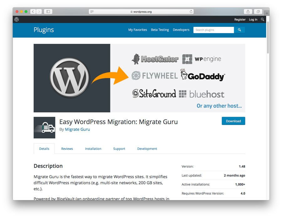 Halaman Plugin WordPress Migrate Guru