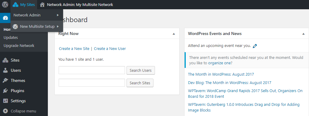 Accessing your Multisite dashboard.