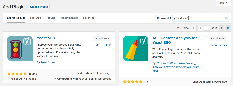 Halaman pencarian plugin WordPress