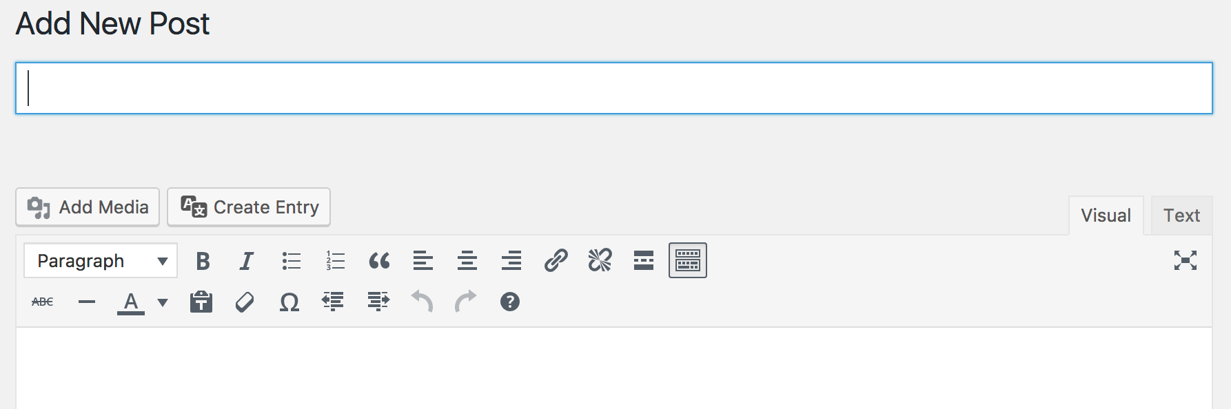 WordPress post new interface