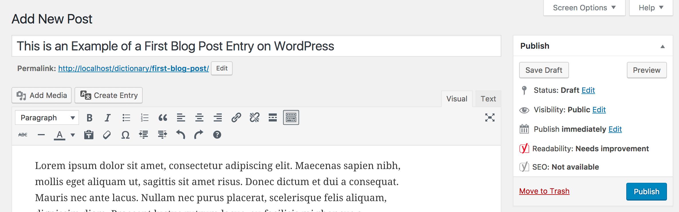 WordPress new post publishing