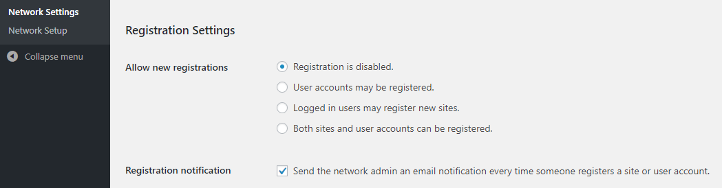 Enabling registration for your network.