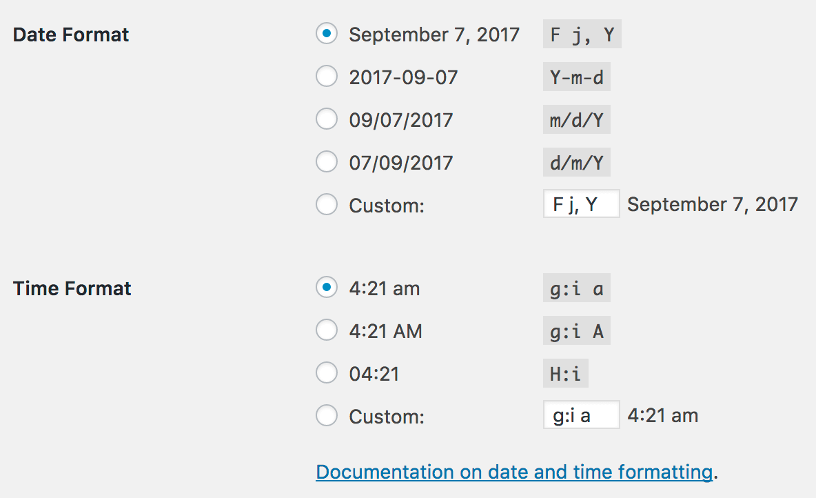 WordPress settings date and time