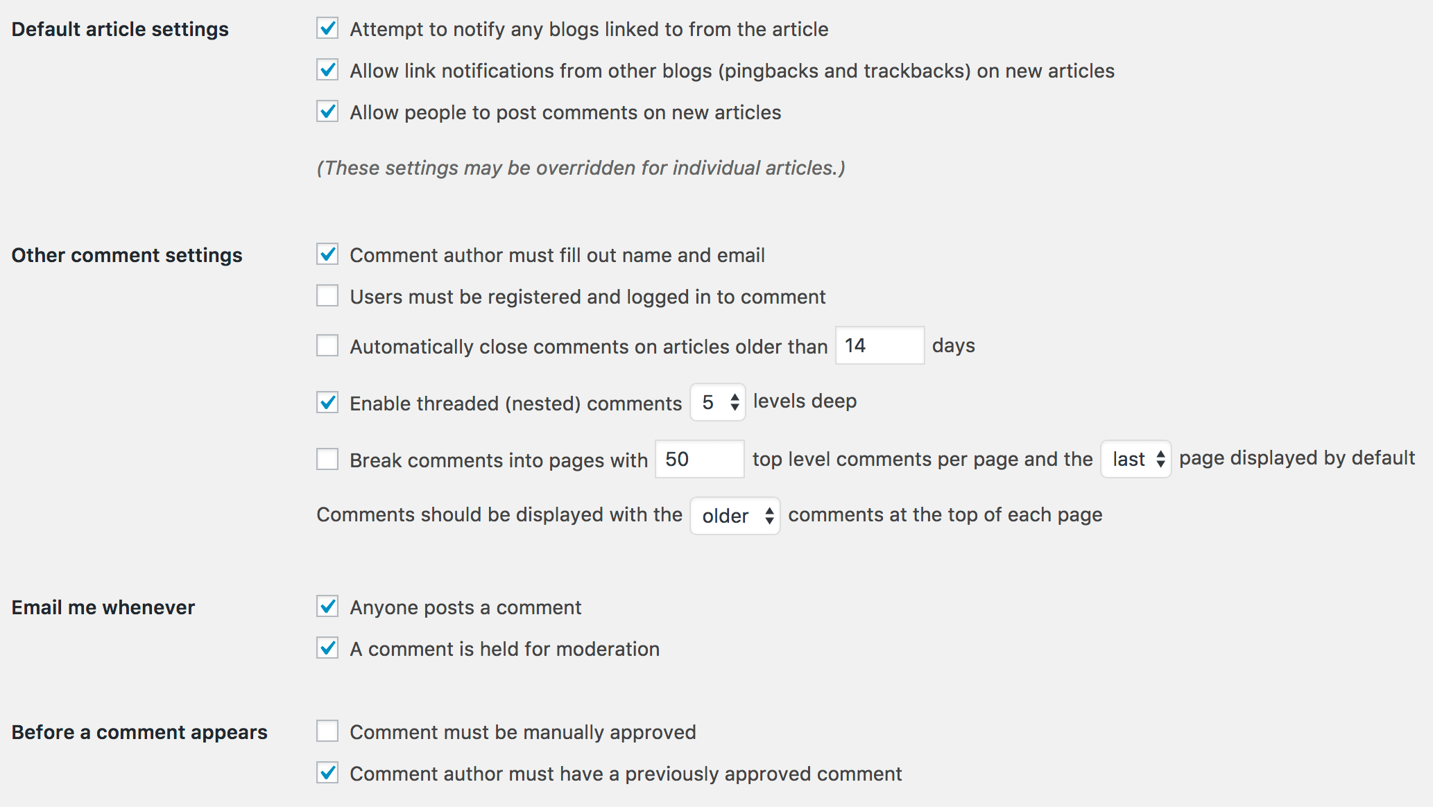 WordPress settings discussion