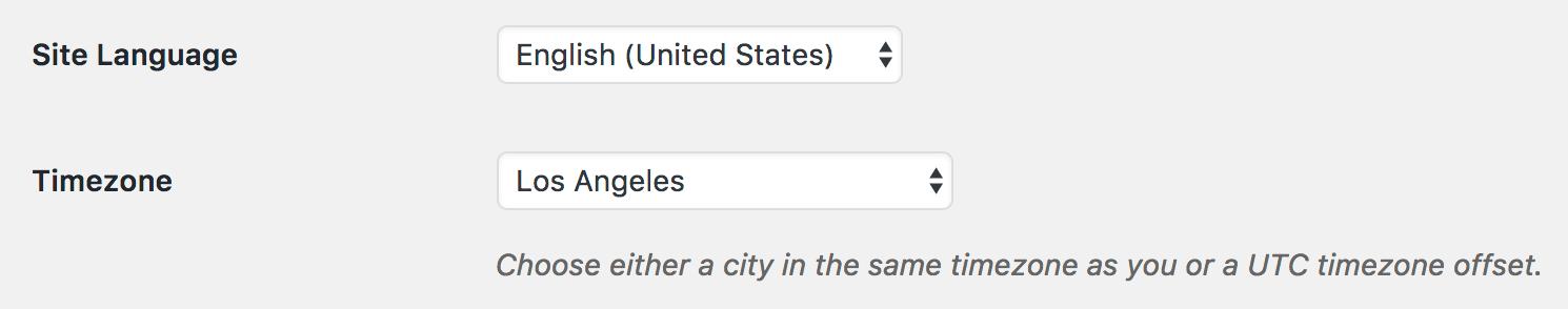 WordPress settings language and timezone