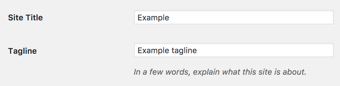 WordPress settings title and tagline