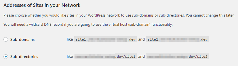 Choosing between subdirectories and subdomains.