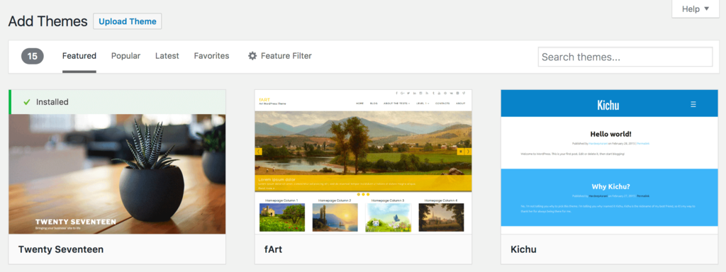 WordPress themes default page
