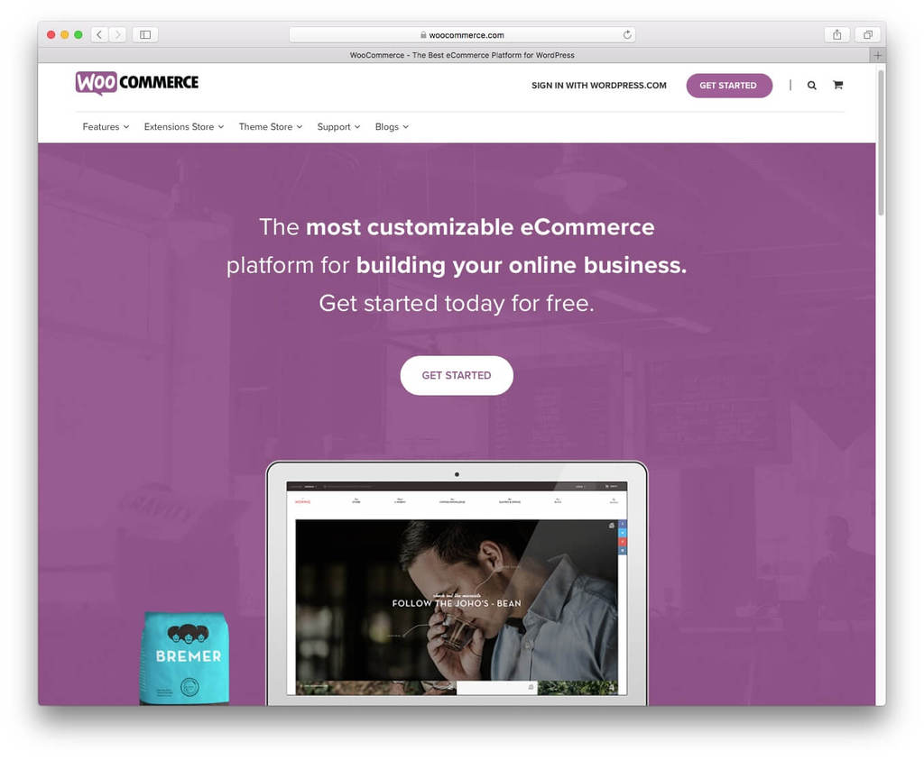Screenshot of WooCommerce plugin website.
