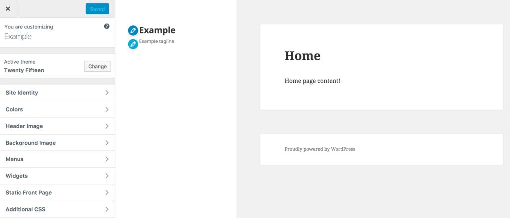 WordPress customizer interface