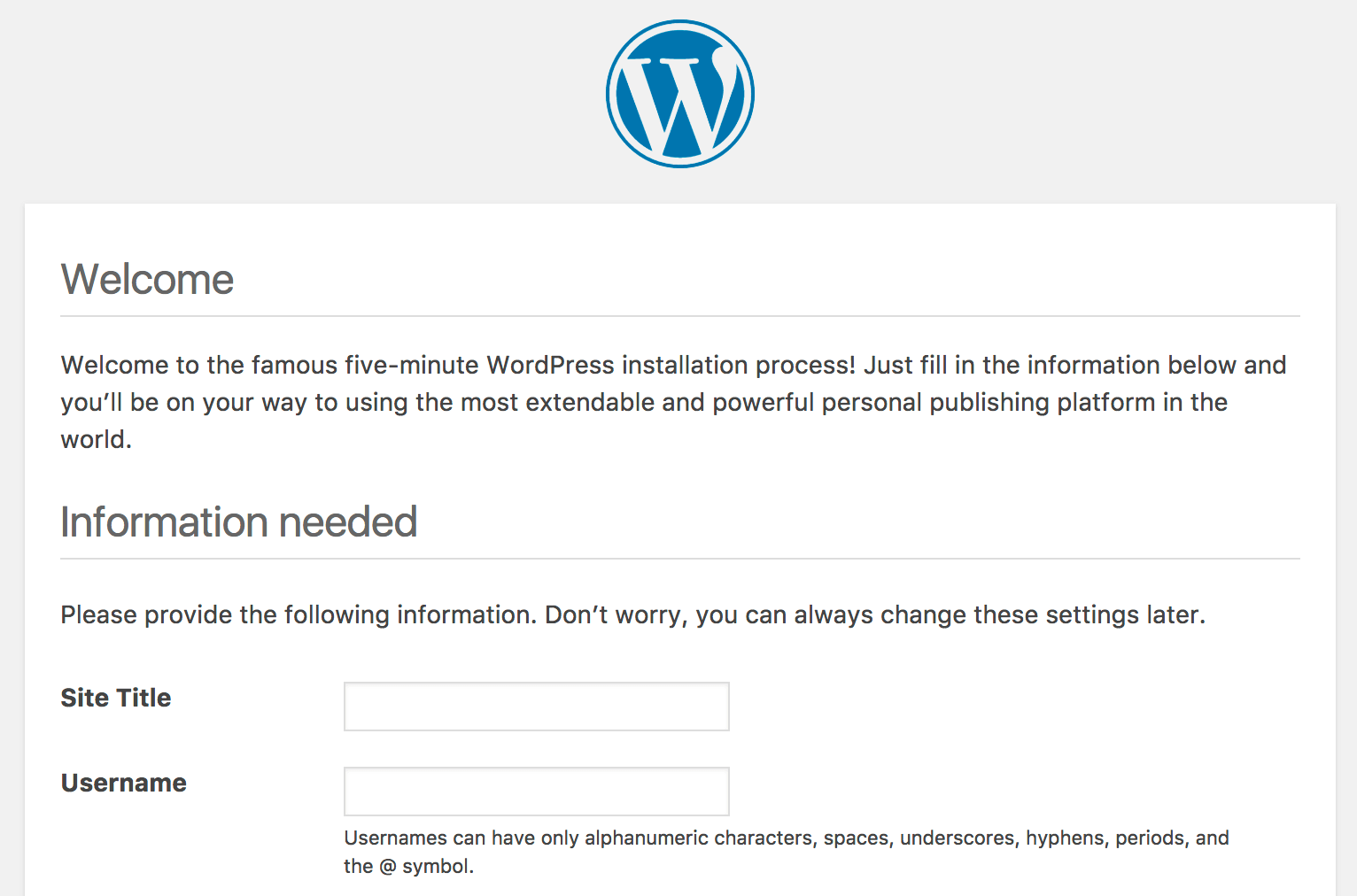 WordPress installation process