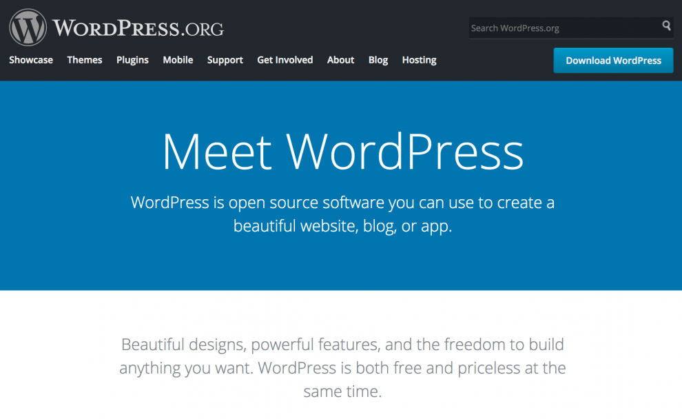 WordPress.org Ana Sayfası