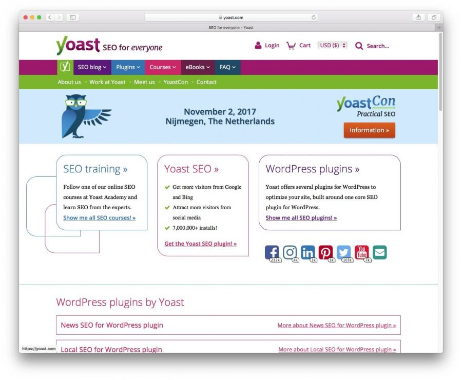 Screenshot plugin yoast website.