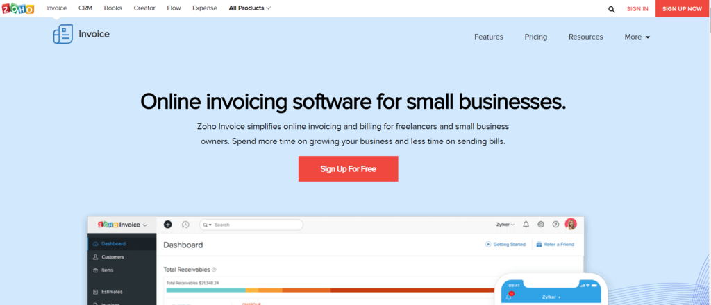 Creating online invoice is easier than ever with Zoho.
