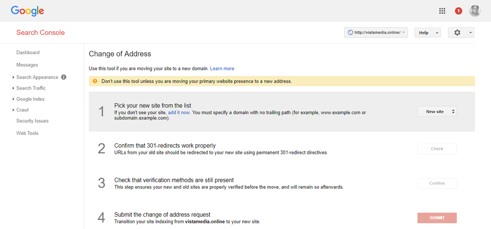 Google Webmasters Tools Change of Address Screen