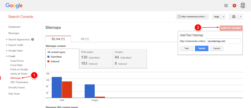 Google Webmasters Tools Sitemaps Screen
