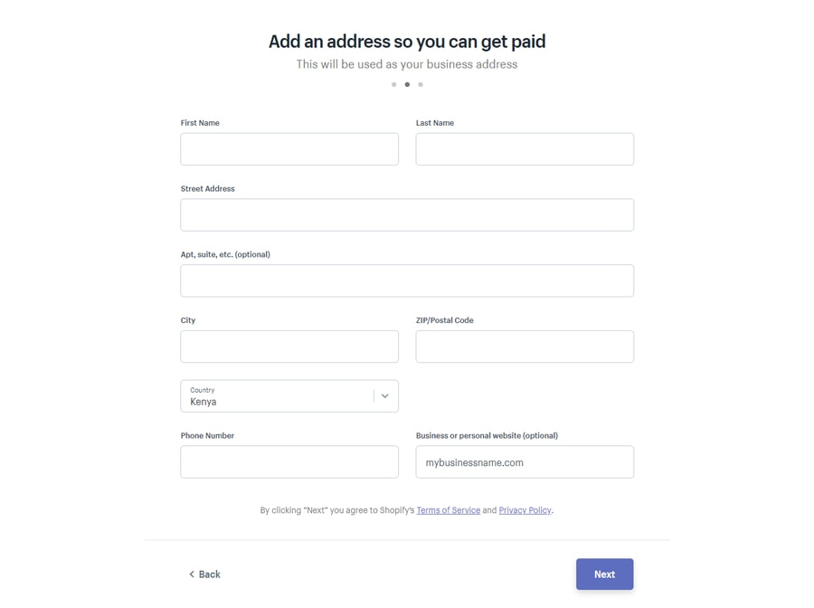 Shopify add business address