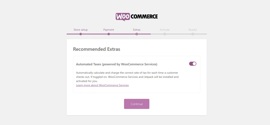 WooCommerce Setup Wizard Automated Taxes