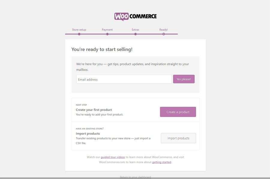 WooCommerce Setup Wizard Final Page