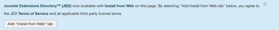 Joomla! Notice asking to enable Add from Web