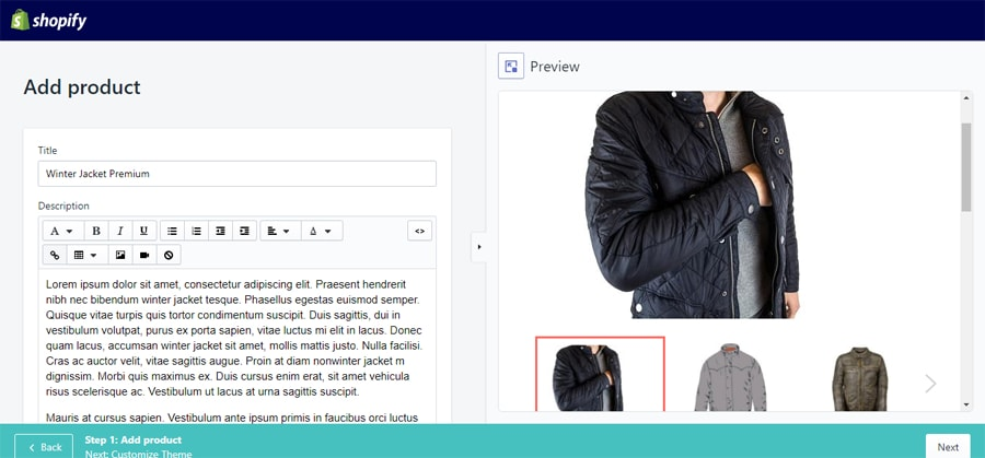 add new product details shopify preview
