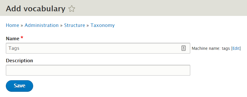 add vocabulary in drupal taxonomy