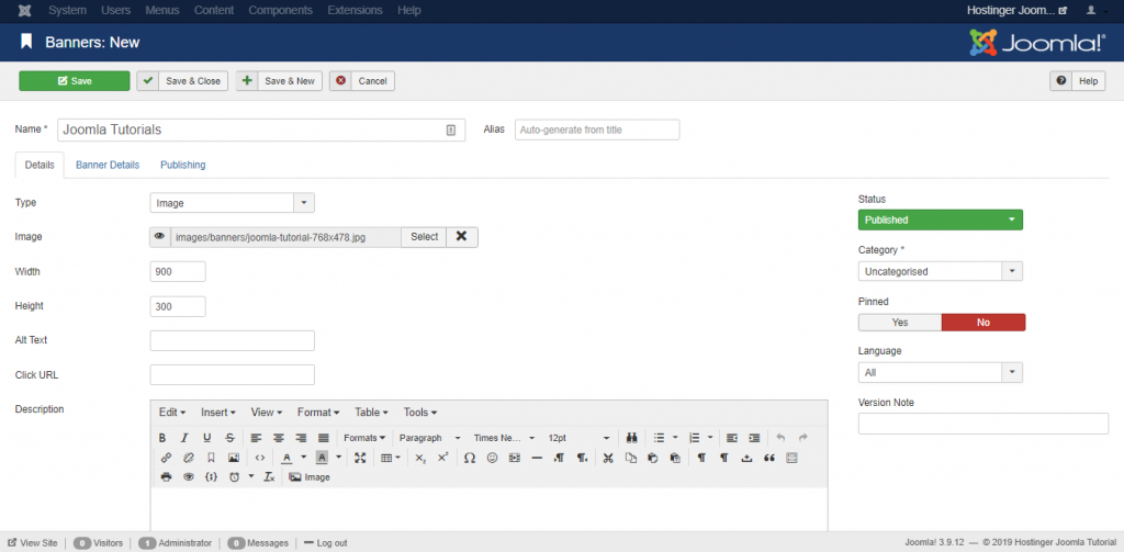 Adding a new banner from Joomla!'s Banner editor on the Hostinger Joomla Tutorial site