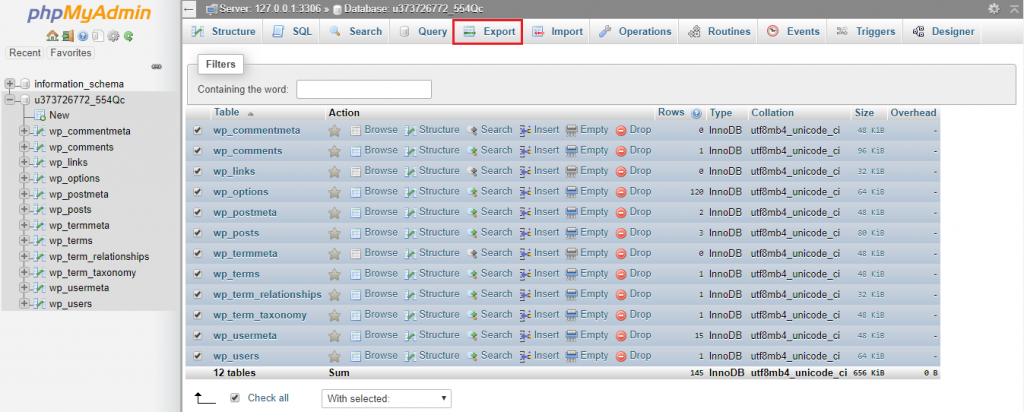 This picture shows how to back up WordPress database via phpMyAdmin