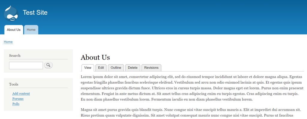 creating about us page on drupal