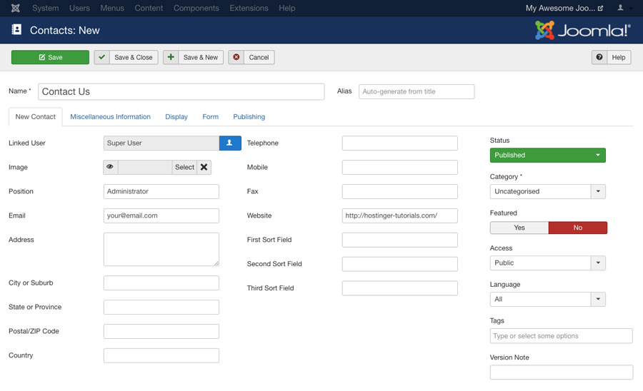 creating contact us component in Joomla