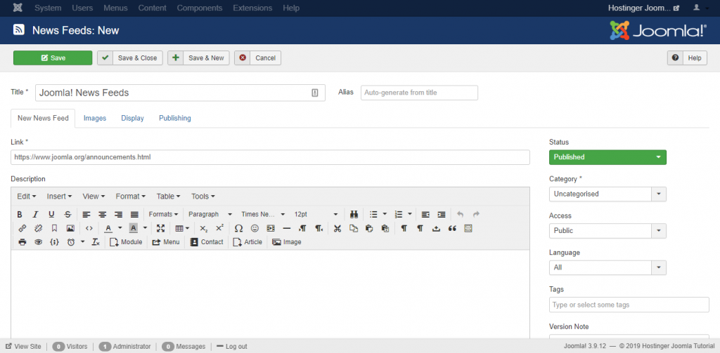 Creating News Feeds on the Hostinger Joomla Tutorial site