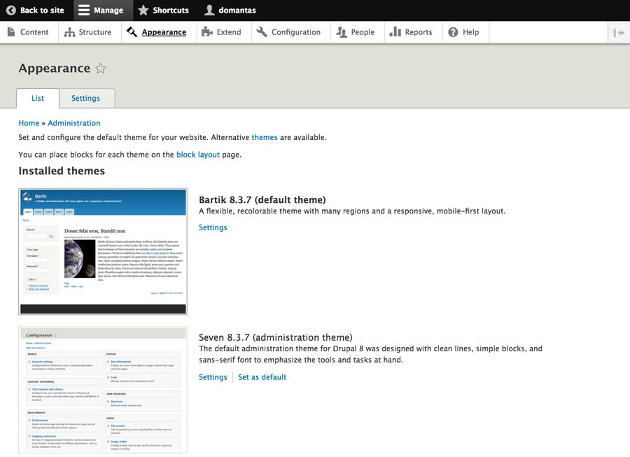 Drupal Appearance Section