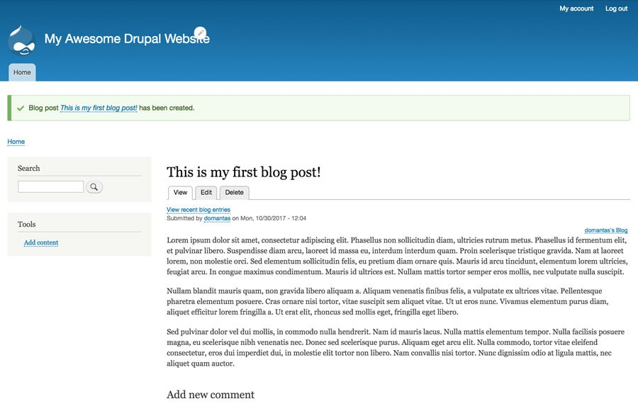 Drupal Blog post published
