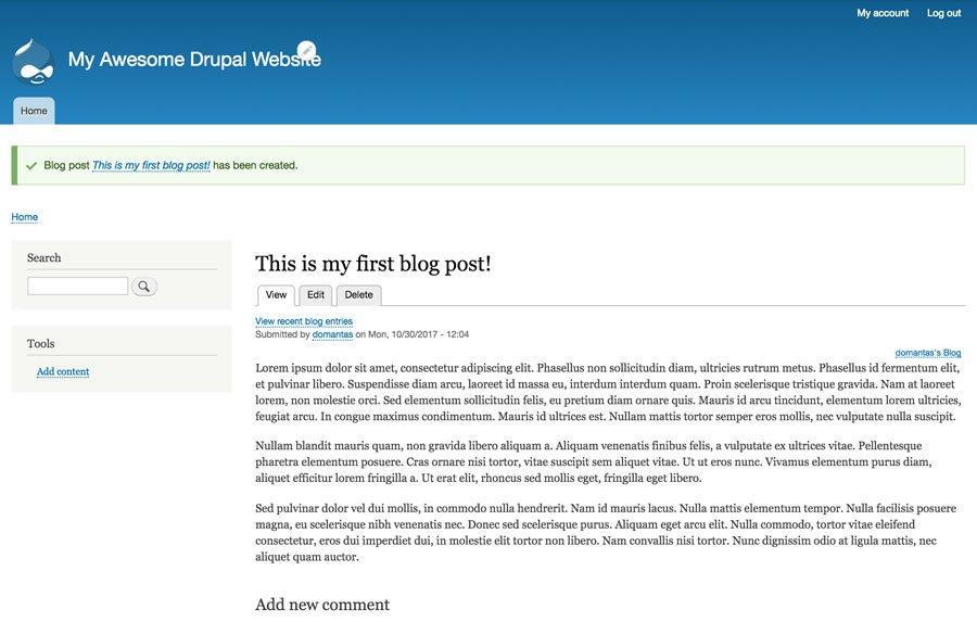 Drupal Blog post published