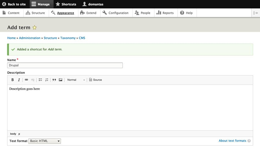 Creating Taxonomy in Drupal