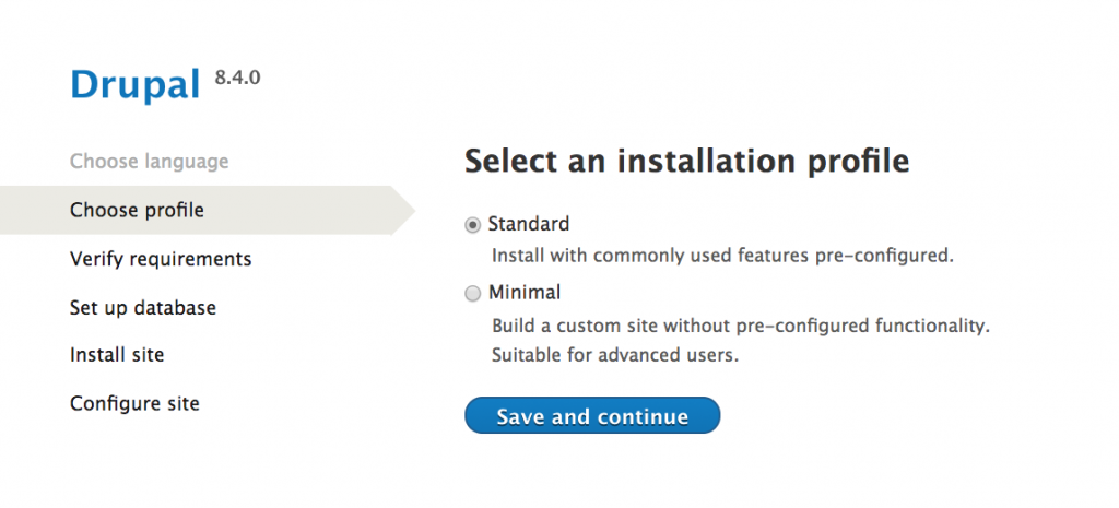 Drupal installation choose installation profile