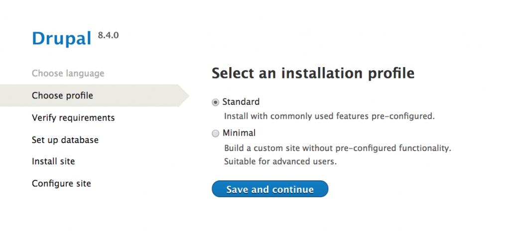 Drupal installation choose installation profile