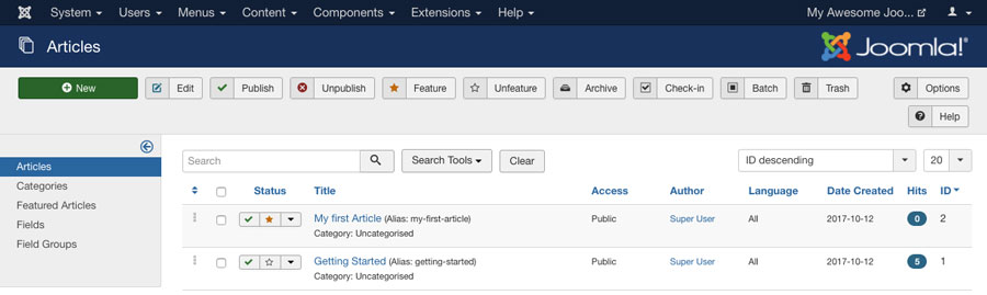 featuring articles in joomla