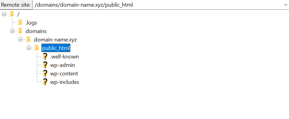 Accessing public_html folder in FIleZilla.