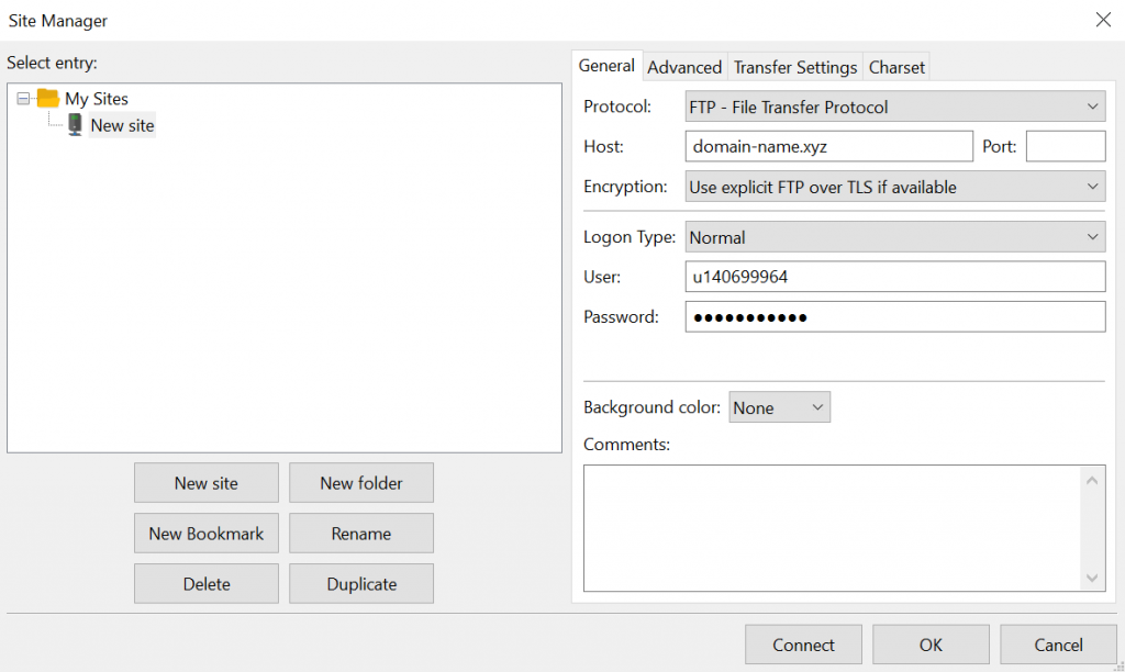 Filling out new site information in FileZilla.