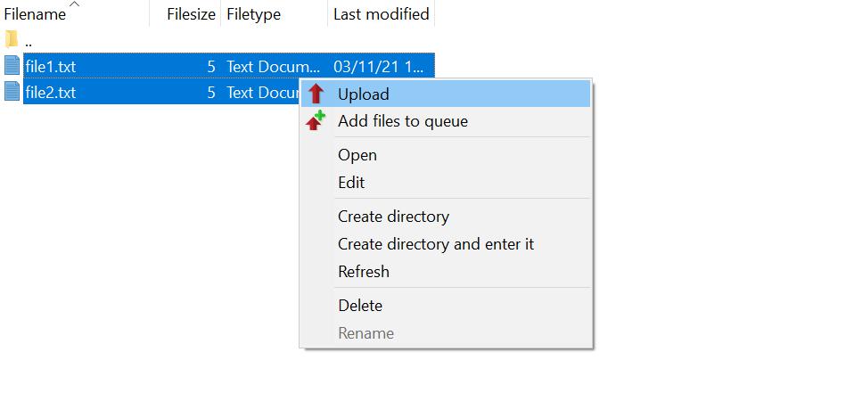 Uploading files in FileZilla.