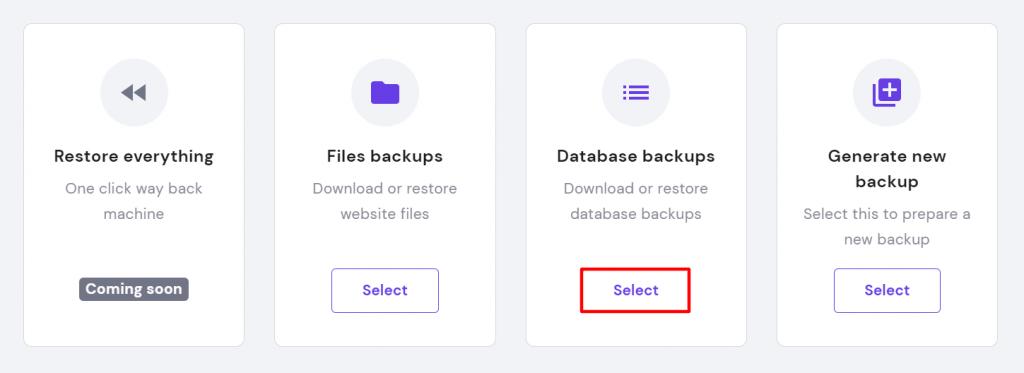 Database backups option in hPanel.