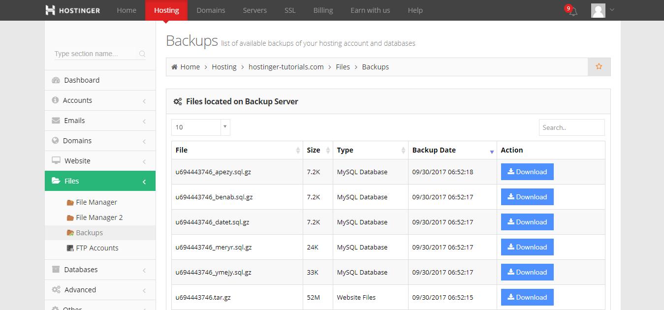 how to backup WordPress cpanel list of WordPress backups