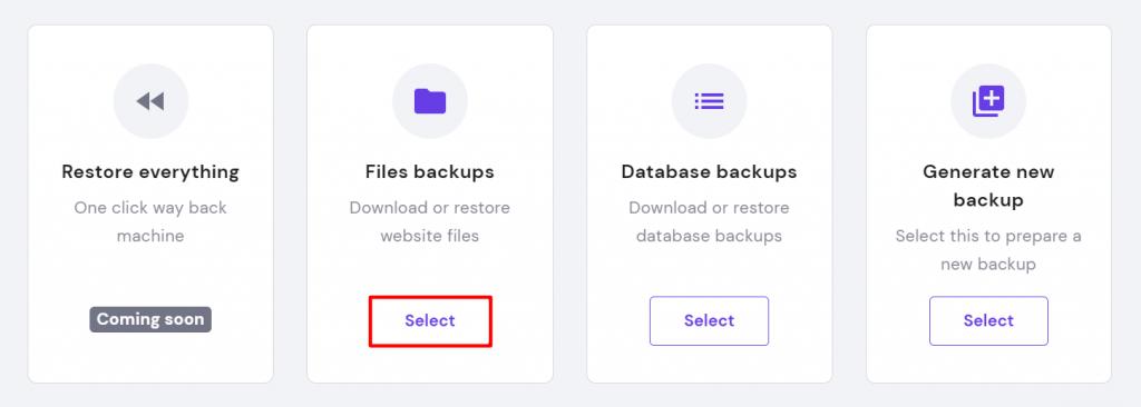 Files backups option in hPanel.