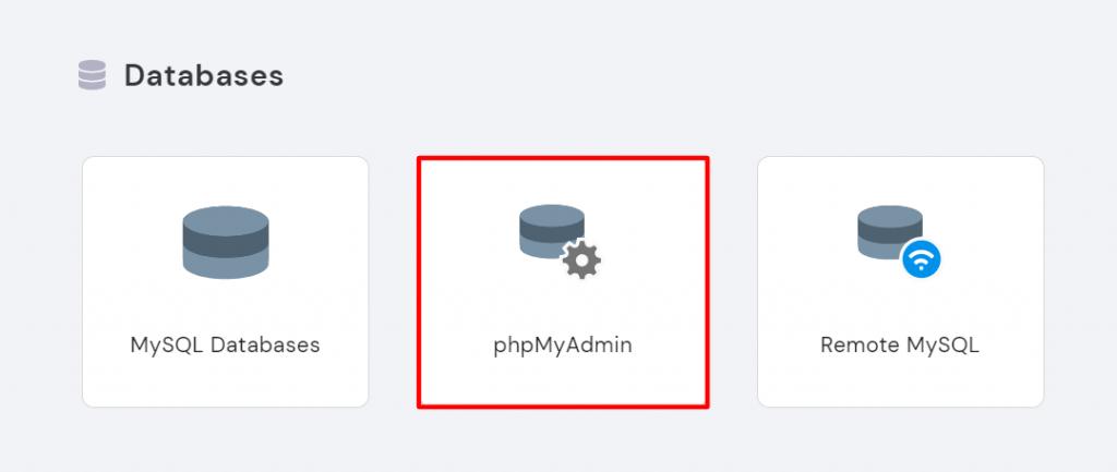 phpMyAdmin in hPanel.