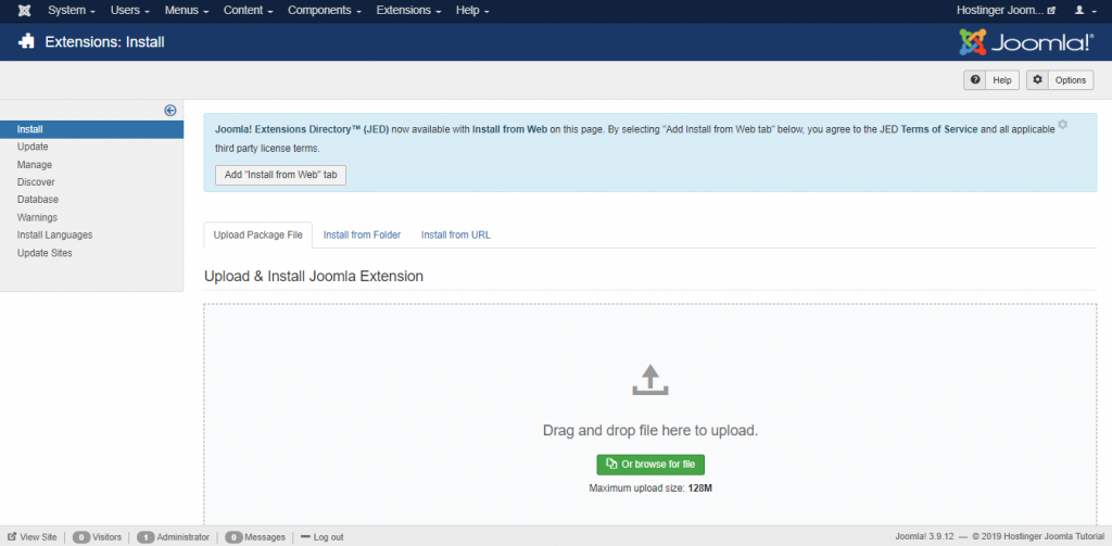uploading and installing new extensions on the Hostinger Joomla Tutorial site